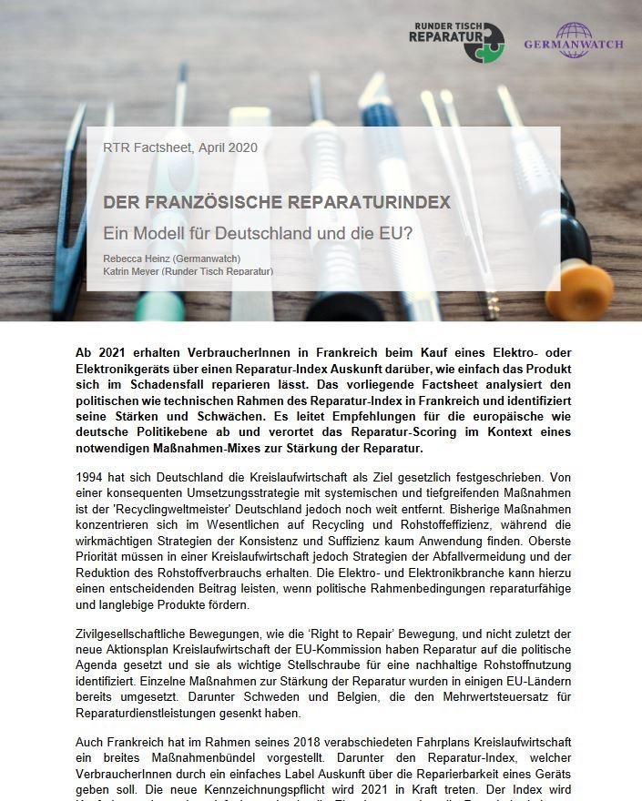 Factsheet: Französischer Reparatur-Index